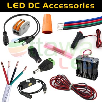 LED DC Splitter, Barrel Jack, PIR, Wire, Ties, WAGO Connectors, RGB Wire, Battery Pack